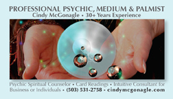 Cindy McGonagle, Intuitive Business Consultant, Psychic Medium