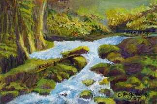Path to Fairy Falls oil painting by Cindy McGonagle